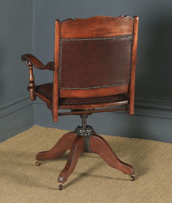 Antique English Edwardian Aesthetic Oak & Red Leather Revolving Office Desk Arm Chair (Circa 1910) - yolagray.com