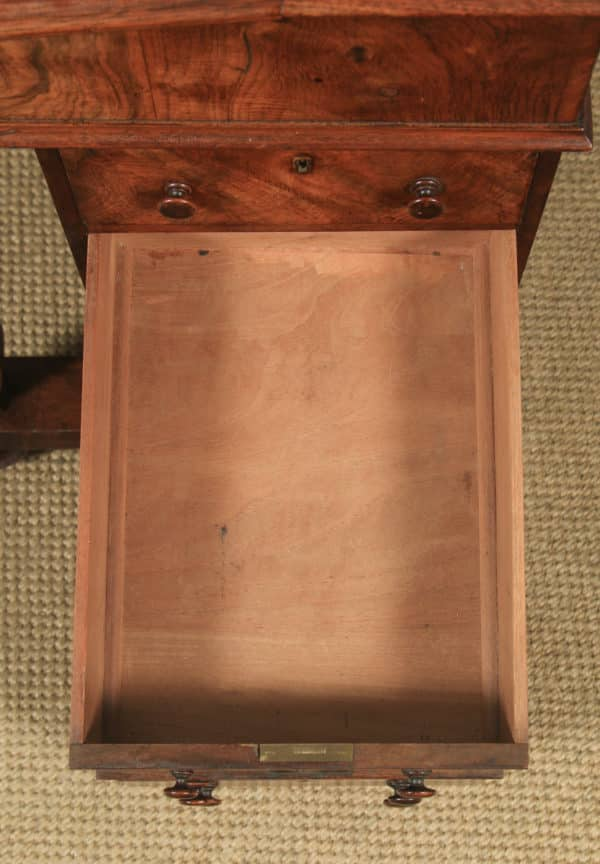 Antique English Victorian Burr Walnut Davenport Writing Desk (Circa 1860) - yolagray.com