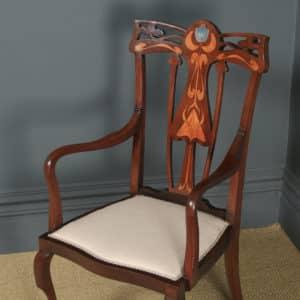 Antique English Edwardian Art Nouveau / Jugendstil Marquetry Inlaid Mahogany Occasional Salon Carver Arm Chair (Circa 1910) - yolagray.com
