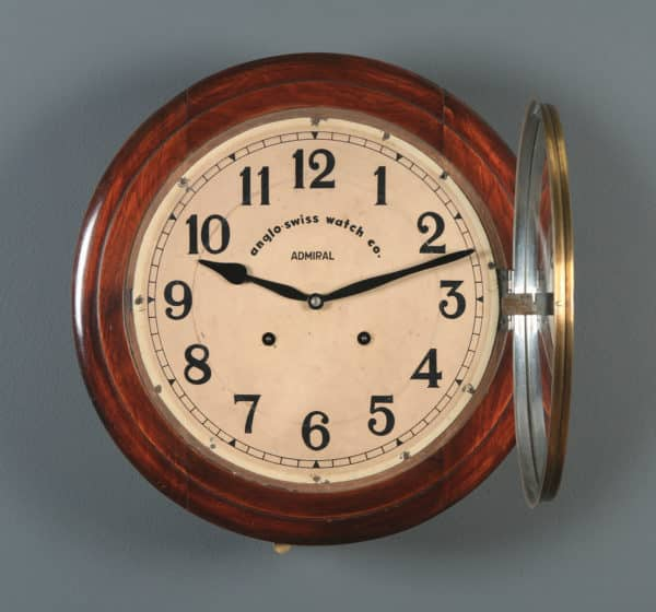 """Antique 16"""" Anglo Swiss Admiral Mahogany Railway Station / School Round Dial Wall Clock (Chiming) - yolagray.com"""