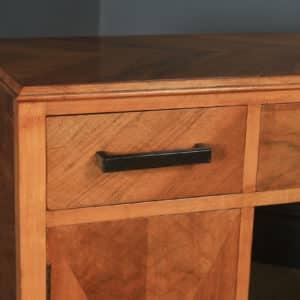 Antique English Art Deco Ruhlmann Style Figured Walnut & Macassar Ebony Office Pedestal Desk (Circa 1940) - yolagray.com