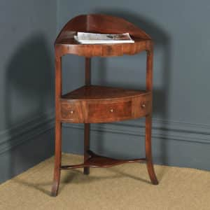 Antique English Regency Bow Front Mahogany & Inlaid Corner Display Table Whatnot Washstand (Circa 1810) - yolagray.com