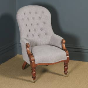 Antique English Victorian Mahogany Grey Upholstered Armchair (Circa 1870) - yolagray.com