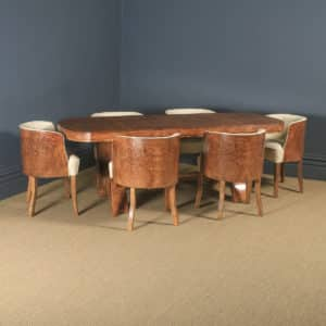 Antique English Art Deco Epstein Burr Walnut Dining Table & Six Leather Dining Chairs (Circa 1930) - yolagray.com