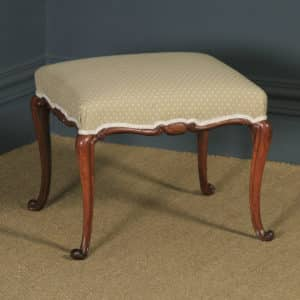 Antique English Victorian Walnut Upholstered Square Dressing / Foot Stool (Circa 1860) - yolagray.com