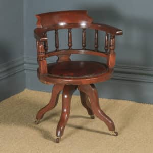 Antique English Victorian Mahogany & Burgundy Red Leather Revolving Swivel Office Desk Arm Chair (Circa 1890) - yolagray.com