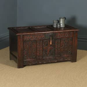 Antique English Georgian Oak Carved Triple Panel Coffer Chest Blanket Box (Circa 1730) - yolagray.com