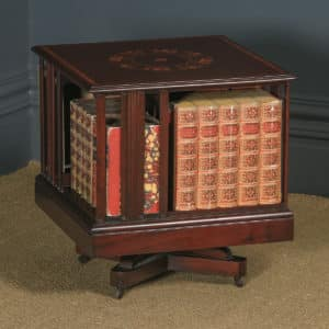 Small Antique English Edwardian Mahogany & Satinwood Inlaid Revolving Bookcase Stand / Table (Circa 1910) - yolagray.com