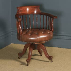 Antique English Victorian Mahogany & Brown Leather Revolving Office Desk Chair (Circa 1880) - yolagray.com
