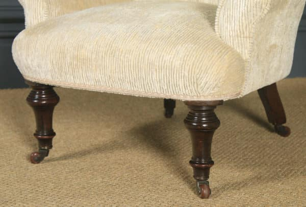 Small Antique English Victorian Cream Upholstered Occasional / Nursing Arm Chair (Circa 1890) - yolagray.com