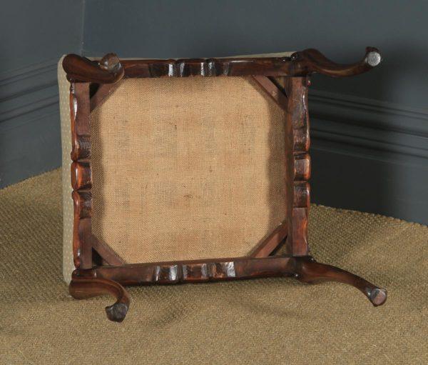 Antique English Victorian Walnut Upholstered Square Dressing / Foot Stool (Circa 1860) - yolagray.com