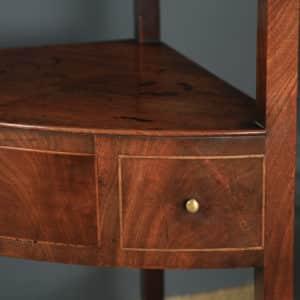 Antique English Regency Bow Front Mahogany & Inlaid Corner Display Table Whatnot Washstand (Circa 1810) - yolagray.com