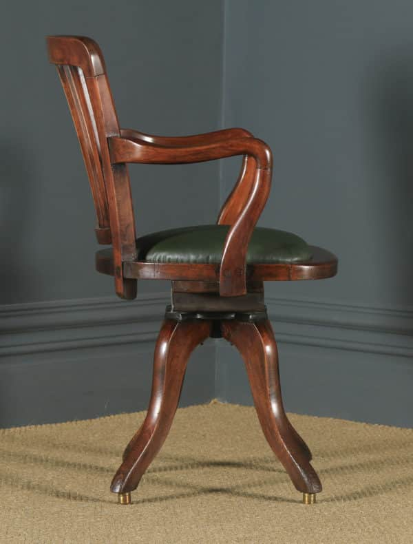 Antique English Victorian Beech Revolving Office Desk Arm Chair (Circa 1900) - yolagray.com