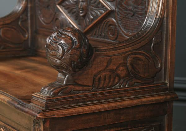 Antique English Victorian Carved Oak High Back Hall Monks Bench Settle (Circa 1870) - yolagray.com
