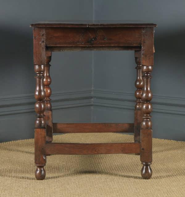 Antique English Georgian Oak Occasional Hall Writing Lowboy Side Table (Circa 1720) - yolagray.com