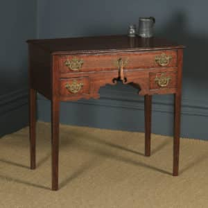 Antique English Georgian Oak Cross Banded Occasional Side Hall Lowboy Table (Circa 1780) - yolagray.com