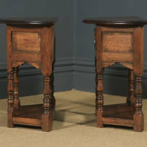 Pair of English 17th Century Style Oak Credence Side Hall Tables by Bryn Hall (Circa 1995) - yolagray.com
