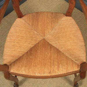 Antique French Set of 12 Louis XV Style Oak Ladder Back Rush Seat Kitchen Dining Chairs (Circa 1920) - yolagray.com