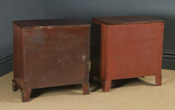 Vintage Pair of English Georgian Style Flame Mahogany Bow Front Bachelor Bedside Chests of Drawers (Circa 1950) - yolagray.com