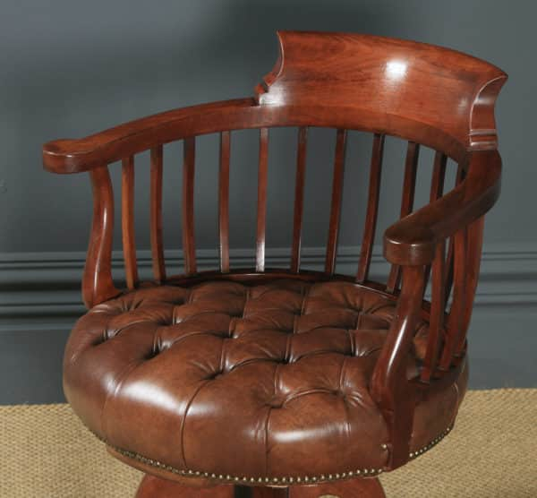 Antique English Victorian Mahogany & Brown Leather Revolving Office Desk Chair (Circa 1880) - yolagray.com