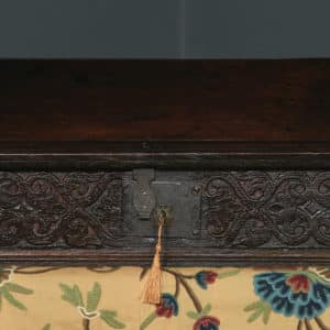 Antique English 18th Century Solid Oak Carved Sloped Writing Box / Trunk / Chest (Circa 1700) - yolagray.com