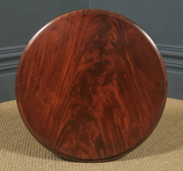 Antique English Flame Mahogany Circular Wine Lamp Occasional Tripod Table (Circa 1870) - yolagray.com
