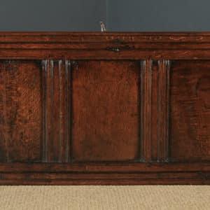 Antique English Georgian Oak Carved Triple Panel Coffer Chest Blanket Box (Circa 1730) - yolagray.com