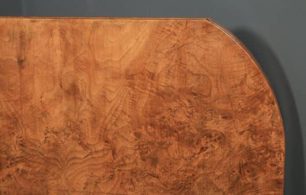 Antique English Art Deco Epstein Burr Walnut Dining Table & Six Leather Dining Chairs (Circa 1930) - yolagray.com