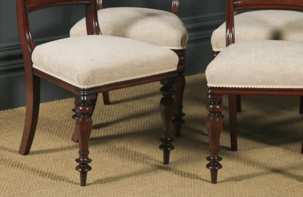 Antique English William IV Set of Six 6 Mahogany Bar Back Dining Chairs (Circa 1840) - yolagray.com