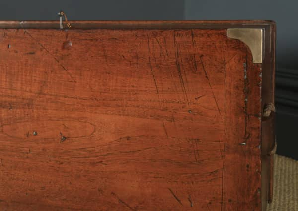 Antique English Victorian Teak & Brass Mounted Campaign Trunk Blanket Box / Chest / Coffee Table (Circa 1850) - yolagray.com