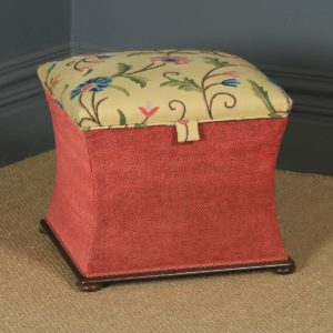 Antique English Victorian Mahogany & Crewel Work Upholstered Concave Ottoman Box Stool Trunk (Circa 1870) - yolagray.com