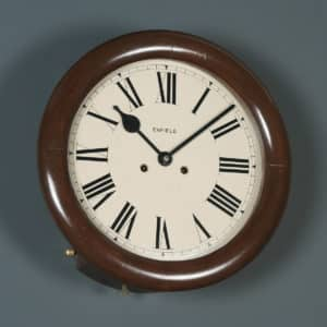 Antique 14″ Mahogany Enfield Railway Station / School Round Dial Wall Clock (Chiming) - yolagray.com