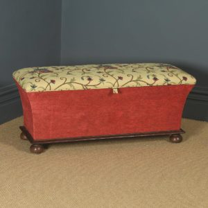 Large Antique English Victorian Mahogany & Crewel Work Upholstered Concave Ottoman Box Stool Trunk (Circa 1870) - yolagray.com