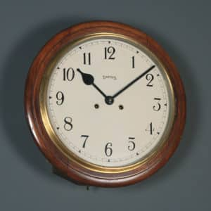 Antique 15″ Mahogany Smiths Railway Station / School Wall Clock (Chiming) - yolagray.com