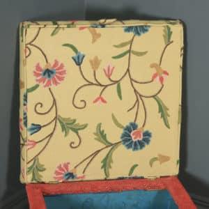 Antique English Victorian Mahogany & Crewel Work Upholstered Concave Ottoman Box Stool Trunk (Circa 1870) - yolagray.com