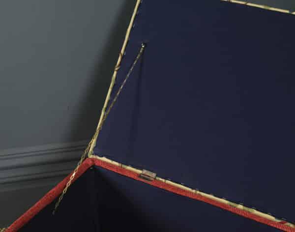 Large Antique English Victorian Mahogany & Crewel Work Upholstered Concave Ottoman Box Stool Trunk (Circa 1870) - yolagray.com