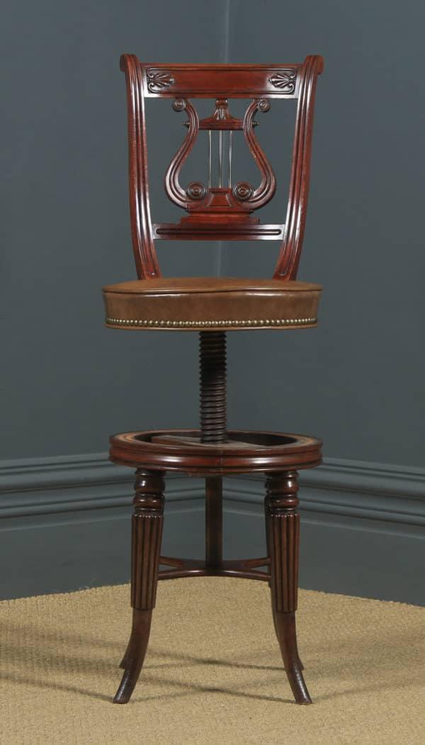 Antique Regency Mahogany & Leather Revolving Harpist / Cellist Music Chair (Circa 1830) - yolagray.com