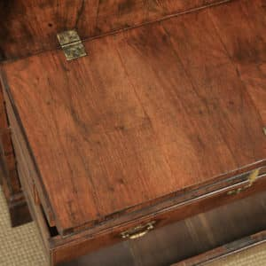 Antique English 18th Century Georgian Figured Walnut Feather Banded Bureau Desk (Circa 1730) - yolagray.com