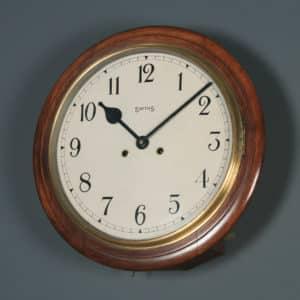 Antique 15″ Mahogany Smiths Railway Station / School Wall Clock (Chiming) - yolagray.com