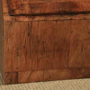 Antique English 18th Century Georgian Figured Walnut Feather Banded Bureau Desk (Circa 1730) - yolagray.com