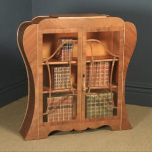 Antique English Art Deco Figured Walnut Shaped Glass China / Book Display Cabinet (Circa 1930) - yolagray.com