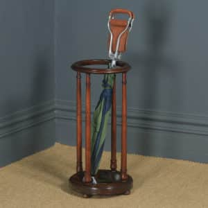 Antique English Victorian Mahogany Circular Stick & Umbrella Hall / Snooker Cue Stand (Circa 1860) - yolagray.com