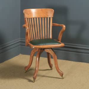 Antique English Victorian Beech & Green Leather Revolving Office Desk Arm Chair (Circa 1890) - yolagray.com