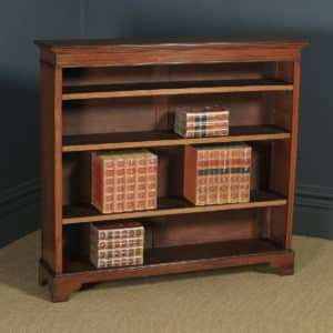Antique English Edwardian Georgian Style Mahogany & Satinwood Inlaid Open 4ft Bookcase Shelf (Circa 1910) - yolagray.com