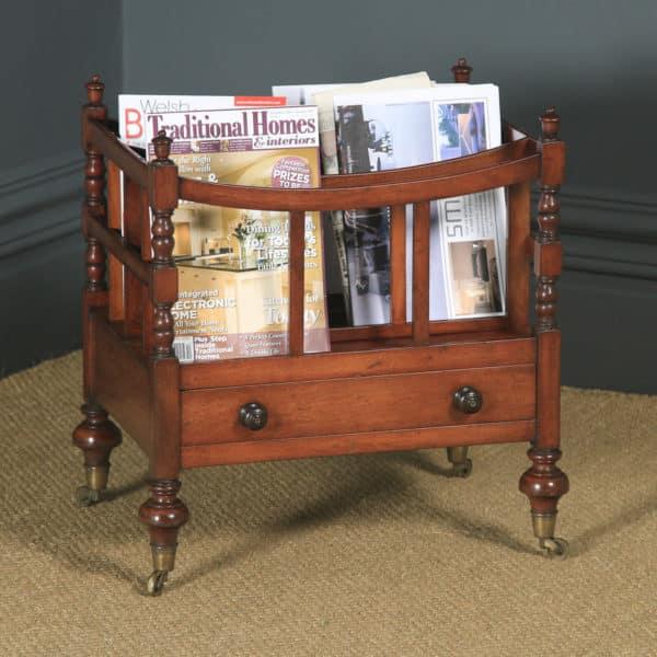 Small Antique English Georgian Regency Mahogany Canterbury Magazine Rack Tidy (Circa 1830) - yolagray.com