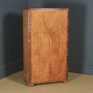 Antique English Art Deco Figured Walnut Two Door Wardrobe (Circa 1930) - yolagray.com