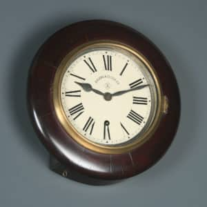 Antique 12″ Mahogany Ansonia Railway Station / School Round Dial Wall Clock (Timepiece) - yolagray.com