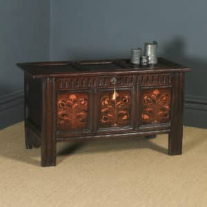 Antique English 17th Century Charles II Oak Inlaid Triple Panel Yorkshire Coffer (Circa 1680) - yolagray.com