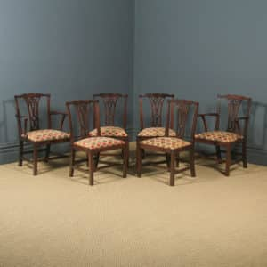 Antique English Set of Six 6 Georgian Chippendale Mahogany Dining Chairs (Circa 1800) - yolagray.com