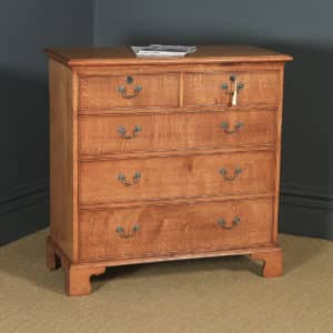 English 18th Century Georgian Style Oak Chest of Drawers by Bryn Hall (Circa 1995) - yolagray.com